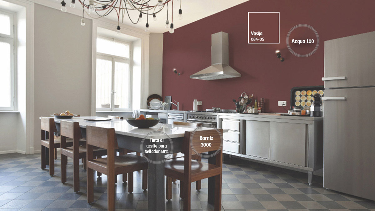 Decoraci n de espacios para cocinas comex for Colores de pared para cocina