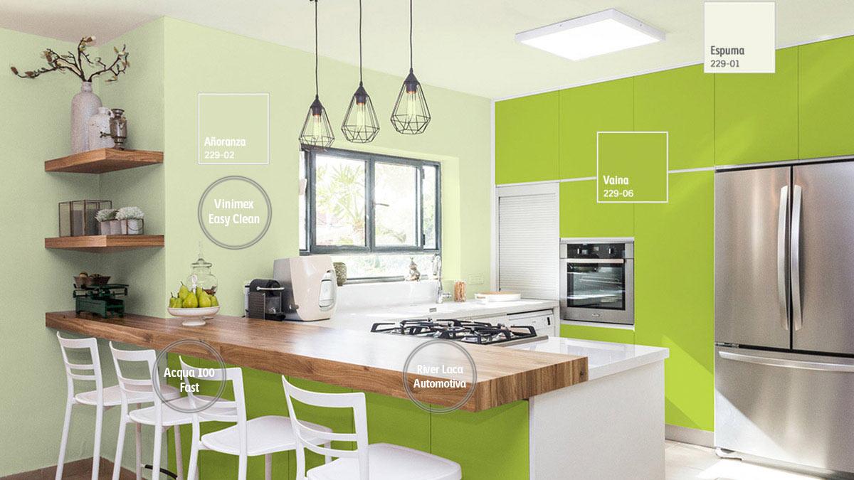 Decoraci n de espacios para cocinas comex for Pintura de interiores precios
