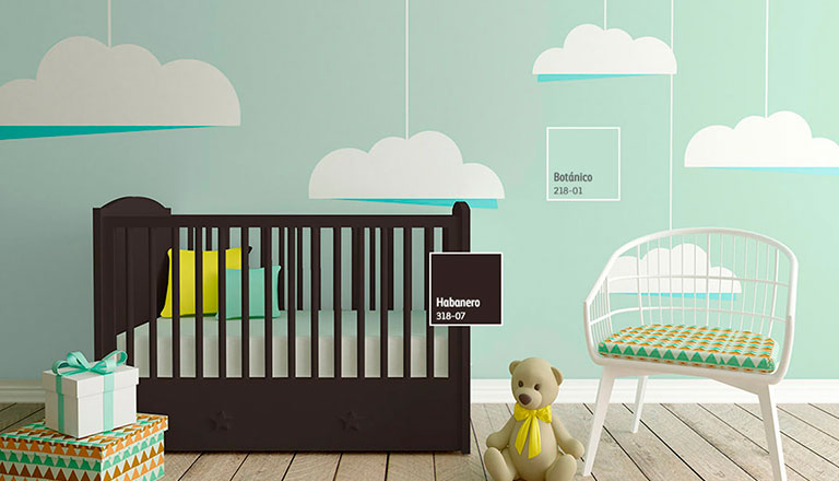 Decoraci n de espacios para beb s comex - Combinacion colores habitacion ...
