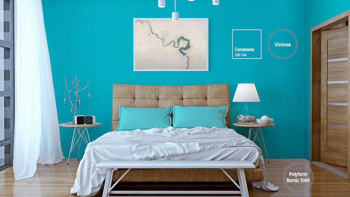 Decoraci n de espacios con colores turquesas comex for Alfombra azul turquesa del dormitorio