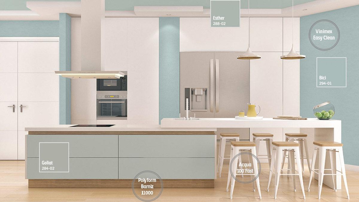 Decoraci n de espacios para cocinas comex for Cocinas con colores vivos