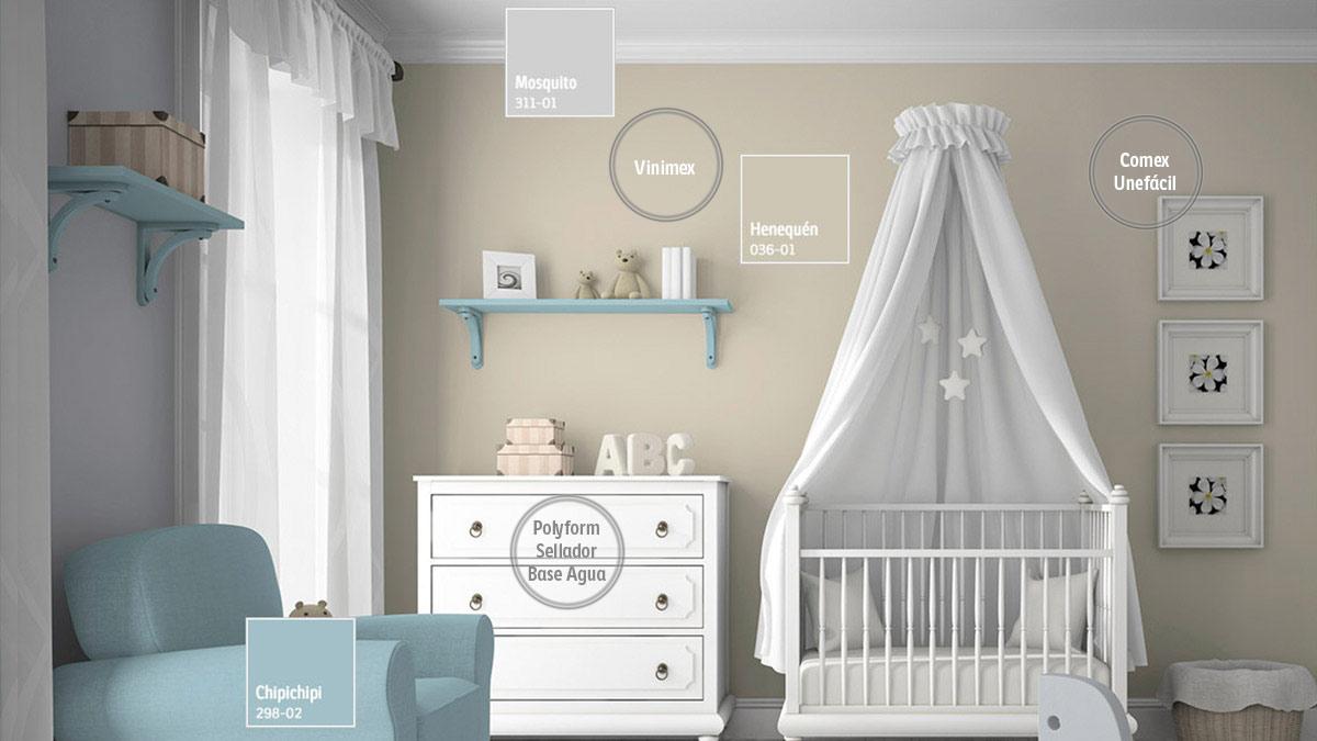 Decoraci n de espacios para beb s comex for Decoracion habitacion bebe pintura