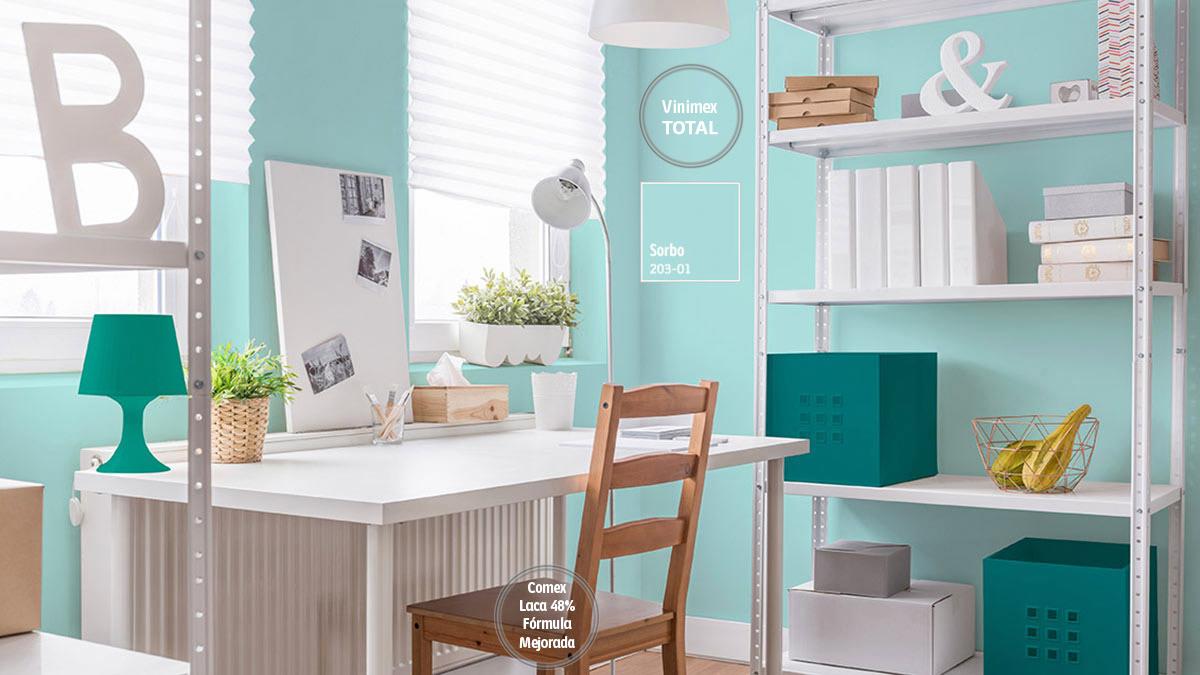 Decoraci n de espacios con colores turquesas comex for Pintura verde turquesa